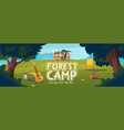 forest camp poster with van chair and guitar vector image