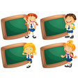 four frames with happy children in school uniform vector image vector image