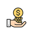 hand with coin pile save money invest vector image
