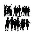 happy kids activity splhouettes vector image vector image