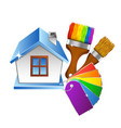 house and brush with paint color palette vector image vector image