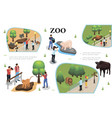 isometric zoo colorful composition vector image vector image