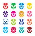 Lucha libre luchador icons mexican wrestling vector image