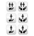 Man woman and couples with hands buttons set vector image vector image