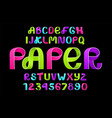 neon alphabet of paper folding vector image vector image