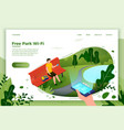 park banner man on a bench with phone vector image vector image