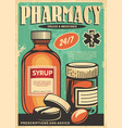 pharmacy retro poster design vector image