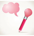 pink bulb pencil with message bubble stock vector image