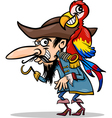 pirate with parrot cartoon vector image vector image