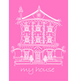 pretty lace doll house on pink background vector image vector image