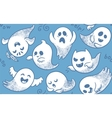 Seamless pattern of cute cartoon ghosts with vector image