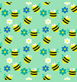seamless pattern with bees and flowers on the blue vector image