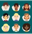 set of diverse round avatars with facial features vector image vector image
