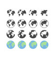 set of earth globe icons in flat and linear vector image
