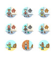 set of multicolor urban tribes icons vector image