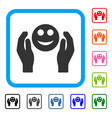 smile care hands framed icon vector image