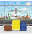 suitcase in airport with airplane travel landmark vector image vector image