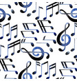 Watercolor musical notes pattern vector image