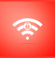 wifi locked sign icon isolated on red background vector image vector image