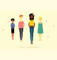 women group standing together friends celebration vector image