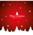 merry christmas happy new year tree red background vector image