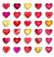 set of 3d heart for day valentine wedding vector image
