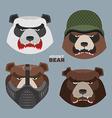 Wild angry bears set Angry Panda bear in a vector image