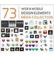 Mega collection of web mobile design elements vector image