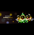 2021 new year christmas tree sparkle blur bokeh vector image vector image