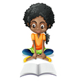 A Black girl reading vector image vector image