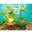 A frog above the stump near the pond vector image vector image