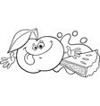 apple and pie cartoon coloring page vector image vector image