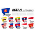asean flag and membership on southeast asia map vector image vector image