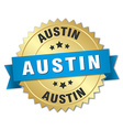 Austin round golden badge with blue ribbon vector image vector image