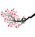 birds in love kissing on a heart tree vector image