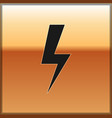 black lightning bolt icon isolated on gold vector image vector image