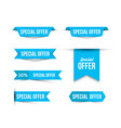 blue special offer banners with shadows on white vector image vector image