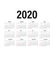 calendar 2020 template calendar mockup design in vector image vector image