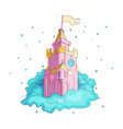 cartoon medieval fun pink castle with flag in blue vector image vector image