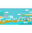 city urban skyline with buildings on blue vector image