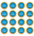 clouds icons blue circle set vector image vector image