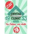 Color vintage dental poster vector image vector image