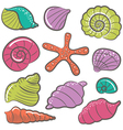 colorful seashell set vector image