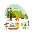 couple with map engaged in hiking vacation vector image