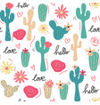 cute tropical cactus hand drawn pattern seamless vector image vector image