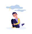 depressed kid crying boy tired sad child vector image