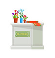 desk counter with potted flowers wrapping paper vector image vector image