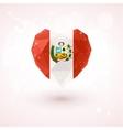 Flag of Peru in shape diamond glass heart vector image