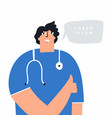 happy male doctor showing thumbs up cheerful vector image vector image