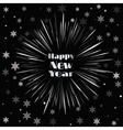 Happy New Year Card with Starburst and Snowflakes vector image